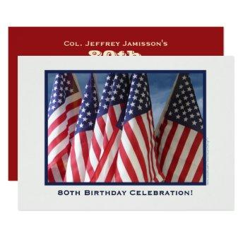 80th Birthday Party, Patriotic American Flags Invitation