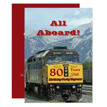 80th Birthday Party Railroad Train Engine Invitation