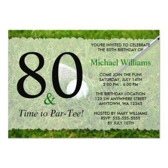 80th Golf Birthday Party Invitation