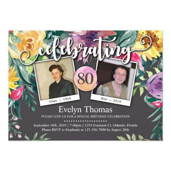 80th Photo Watercolor Floral Female Birthday Party Invitation