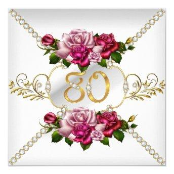80th Women's Birthday Party Pink Roses White Gold