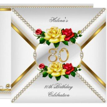 80th Women's Birthday Party Red Yellow Roses Invitation