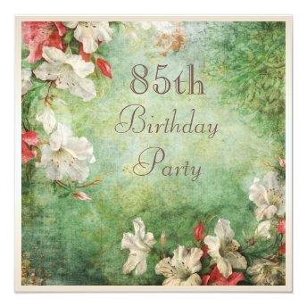 85th Birthday Party Shabby Chic Hibiscus Flowers Invitation