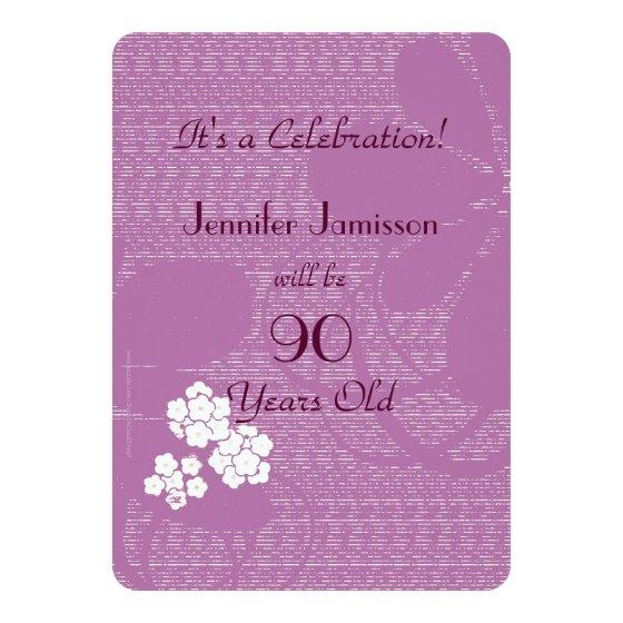 231 90 Years Old Purple Floral Birthday Party Invite
