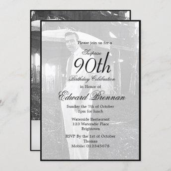 90th Birthday Male Stylish Photo Monogram Birthday Invitation