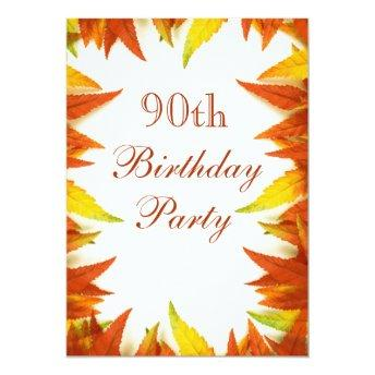 90th Birthday Party Autumn/Fall Leaves Invitation