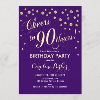90th Birthday Party Invitation - Gold Purple