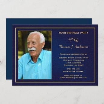 90th Birthday Party Invitation - Add your photo