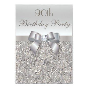 90th Birthday Party Silver Sequins, Bow & Diamond