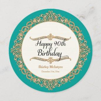 90th Happy Birthday Party Celebration Round Invite