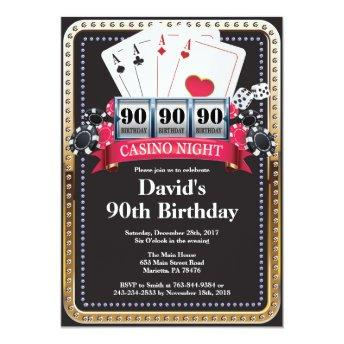 90th Poker Playing Invitation Casino Birthday invitation
