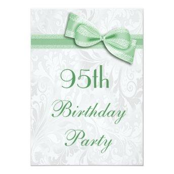 95th Birthday Party Damask And Faux Bow Invitation