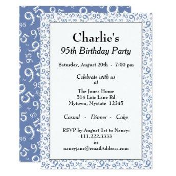 95th Birthday Party Theme Blue And White Pattern Invitation