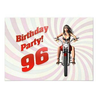 96th birthday party with a girl on a motorbike invitation