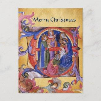 ADORATION OF MAGI CHRISTMAS PARCHMENT Red Gem Holiday PostInvitation