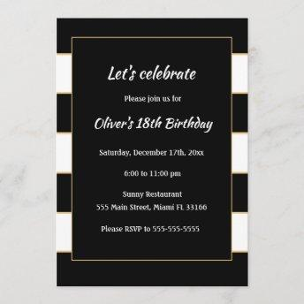 Adult Birthday Invitation Black White Striped Gold