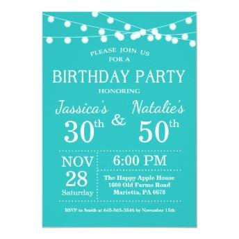 Adult Joint Birthday Party Invitation Teal