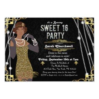 African American Flapper Sweet 16 Invitation