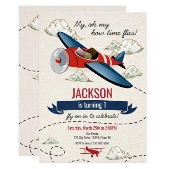 Airplane Birthday Invitation Vintage Time Flies