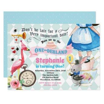 Alice in ONEderland birthday tea party pink Invitation