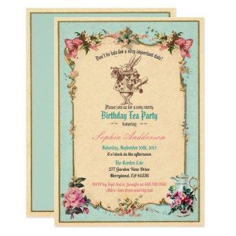 Alice in Wonderland birthday party invitation teal