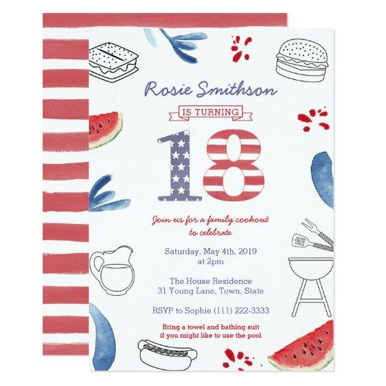 216 All American 18th Birthday Party 4th July Invitation