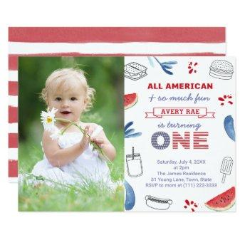 All-American Red White Blue 1st Birthday Party Invitation