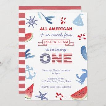 All-American Red White Blue First Birthday Party Invitation