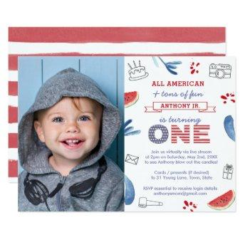 All American Virtual 1st Birthday Party Photo Invitation