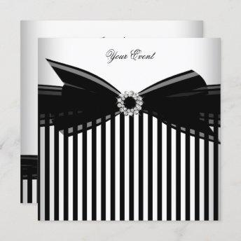 All Occasion Black Bow White Stripe Party Invitation
