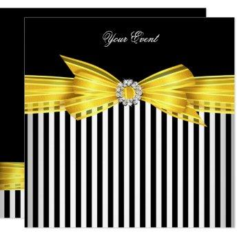 All Occasion Yellow Black White Stripe Party