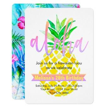aloha luau birthday party watercolor pineapple