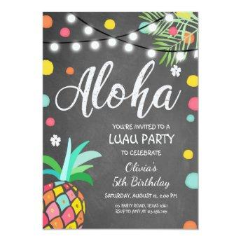 Aloha Tropical Birthday party invite Hawaii Luau