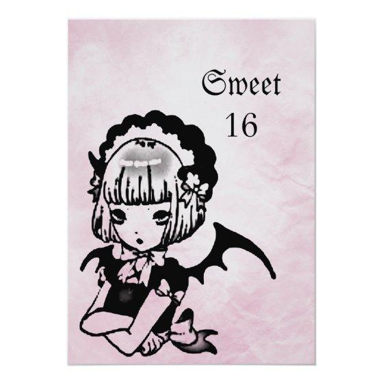 Anime bat girl goth fantasy sweet 16 birthday party invitations 259 anime bat girl goth fantasy sweet 16 filmwisefo