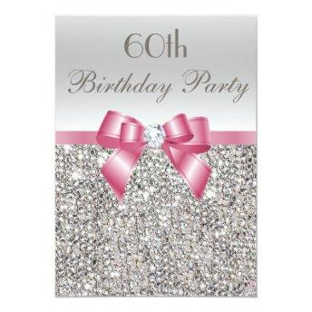 Any Age Birthday Party Silver Sequins Pink Bow