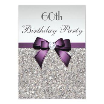 Any Age  Party Silver Sequins Violet Bow