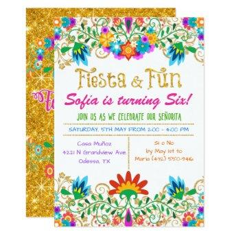 ANY AGE - Fiesta Floral Glitter Birthday