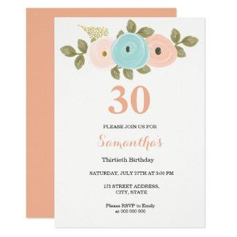 Any Age Floral Peach 30th Birthday