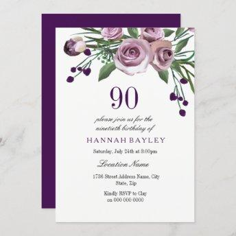 Any Age Purple Plum Rose 90th Birthday Invitation