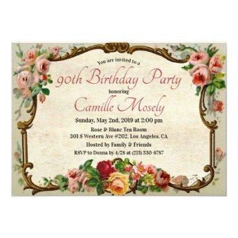 ANY AGE - Victorian Floral Birthday Invitation