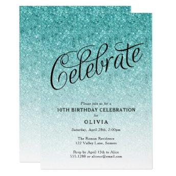 Any Year Birthday Blue Ombre Glitter Invitation