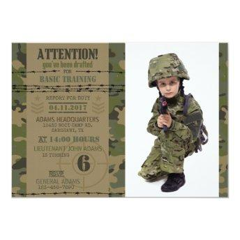 Army Jungle Camouflage Military Birthday Invitation