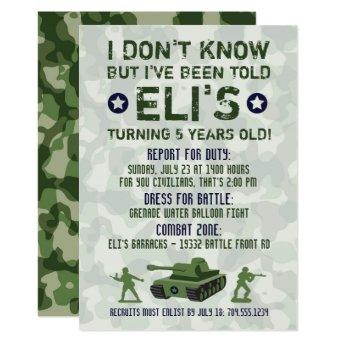 Army Military Birthday Invitation