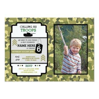 Army Troops Photo Birthday Party Camo Military Invitation