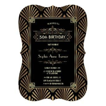 Art Deco Black Gatsby 1920s 50th Birthday Party Invitation