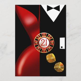 Art Deco Couple 21st Birthday Party | red black Invitation