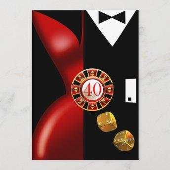 Art Deco Couple 40th Birthday Party | red black Invitation