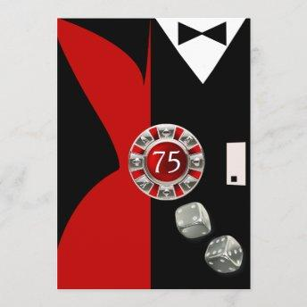 Art Deco Couple 75th Birthday Party | red black Invitation