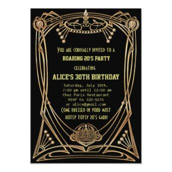 Art Deco Gatsby Style Birthday Party Invitation