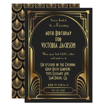Art Deco Nouveau Birthday Party Gold & Black Invitation